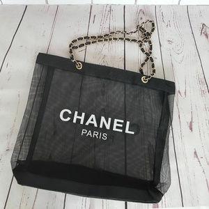 Brand New Mesh Black Shopping Tote Bag VIP Gift